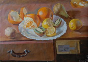 Dobrovolskaya Gayane. Stil-Life With Oranges, Lemons, Pear & Kiwi Fruits