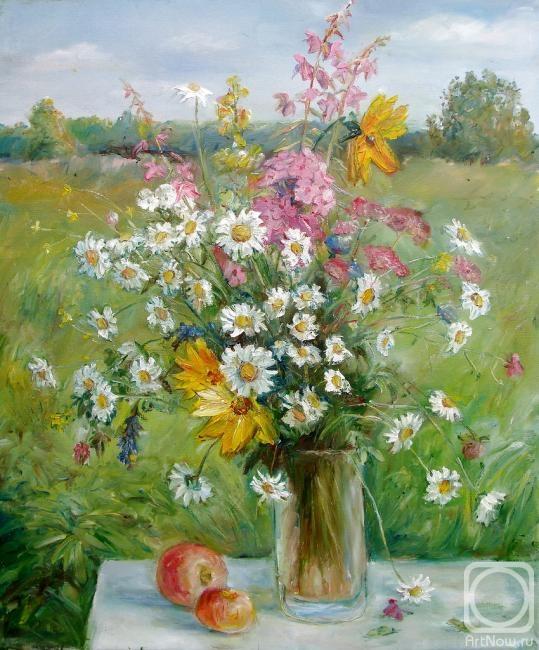 Картина маслом полевые цветы