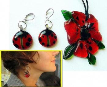 "Jewelry Set ""Ladybug"" glass, fusing. Repina Elena"