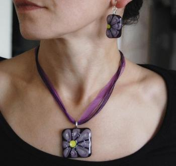 "Jewelry Set ""Purple mood"" glass, fusing. Repina Elena"
