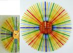 "Wall clock ""Sunny Circle"", fusing, glass"