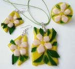 "Jewelry Set ""Florescence"" glass, fusing"