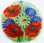"Wall clocks ""Poppies. Heat"" glass fusing"
