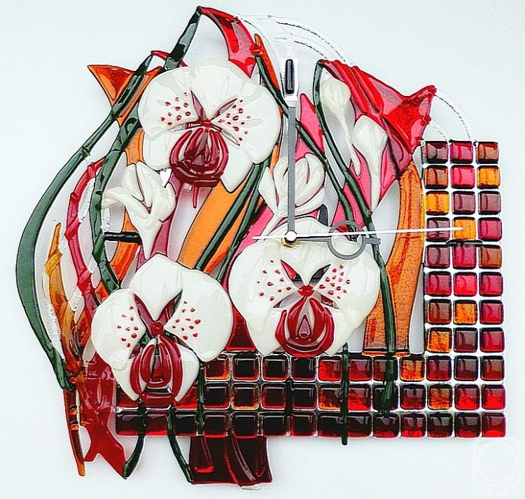 "Repina Elena. Wall clock ""Desire"" 2, fusing, glass"