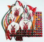 "Wall clock ""Desire"" 2, fusing, glass"