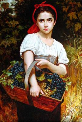 The girl with grapes