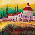Gukasova Ulyana. dom, wzgórza i cyprys