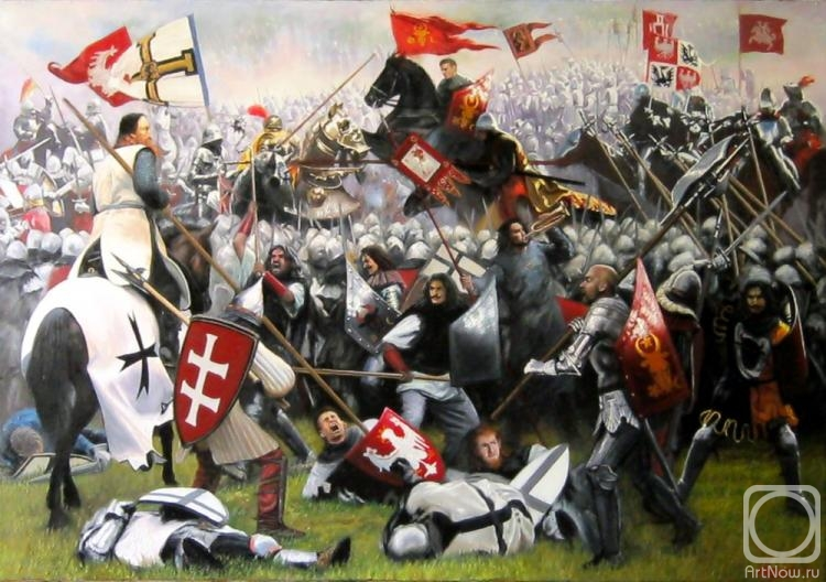 The Battle of Grunwald, 1410, soldiers of the Moldavian principality attack