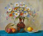 Biryukova Lyudmila. Still life with flowers and fruits