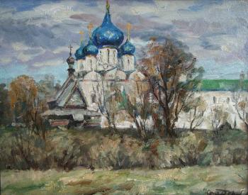 Fedorenkov Yury. Suzdal. View of the Cathedral of the Nativity of the XVIII century wooden church of the XVIII century