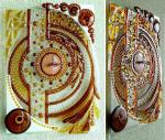 "Openwork wall clock ""Parade of Planets"" glass fusing"