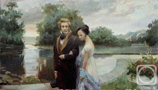 Eugeny Onegin with Tatiana Larina. The artworks. Kushevsky Yury . Artists. Paintings, art gallery, russian art