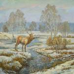 Пейзаж с оленем. Панов Эдуард
