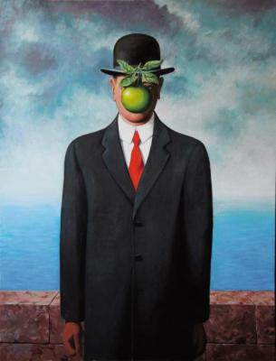 "Copy of a picture of René Magritte"" Son human"""