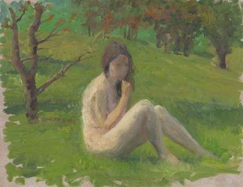 Sketch. Spring. Nude against the Green Background