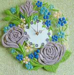 "Wall clock ""Provence""3 glass fusing"