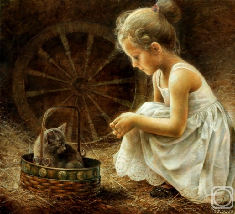 Braginsky Arthur. Girl with kitti