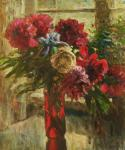 Flowers in red vase
