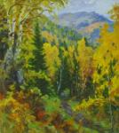 Mountain trail under the Golden birches. Rudin Petr