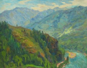 Rudin Petr. The cliff above the river Katun