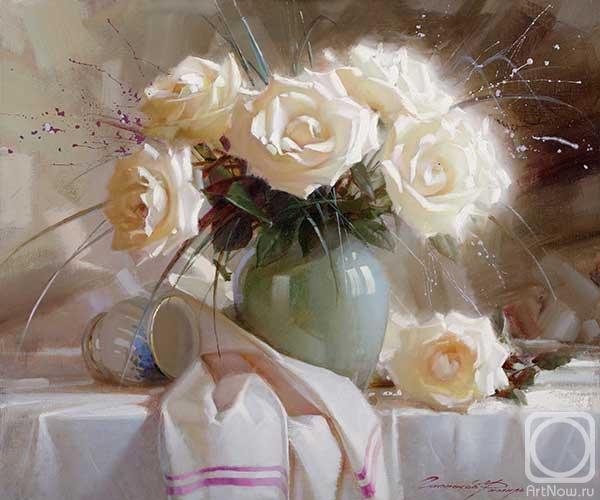 Gappasov Ramil.  încă de viață cu trandafiri albi