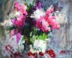 Sukhkopluev Konstantin. Lilac and sweet cherry on grey