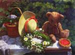 Мишка, венок и корзина с ягодами.. Шумакова Елена