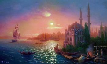 View of Constantinople at lunar lighting. Kulagin Oleg