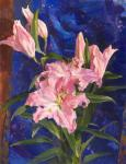 Kharchenko Victoria. Pink lilies and Chinese silk